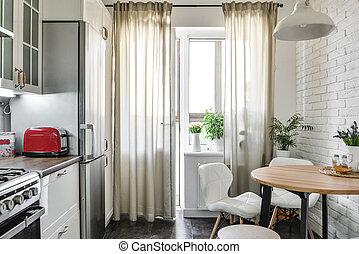 Interior of the kitchen in Scandinavian style