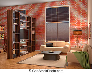 interior of the living room in loft style. 3d illustration