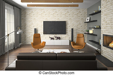 Interior of the loft with orange armchairs and fireplace