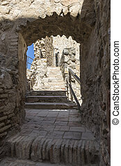 Interior of the medieval castle of the city of Consuegra in Toledo, Spain