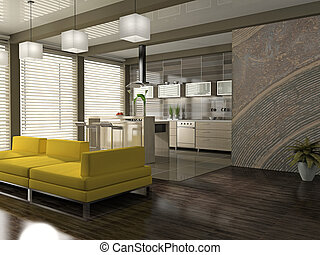 Interior of the modern apartment 3D rendering