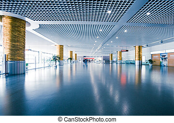 interior of the modern architectural in shanghai airport