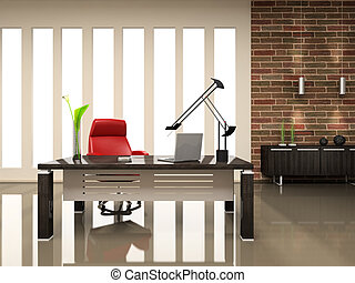 Interior of the modern cabinet 3D rendering