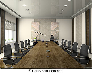 Interior of the modern conference hall 3D rendering