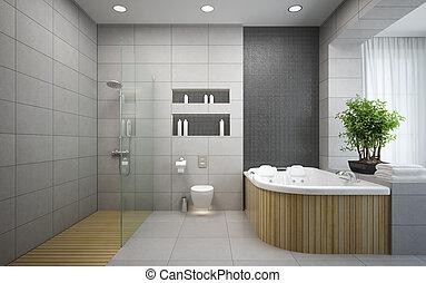 Interior of the modern design  bedroom 3D rendering 2