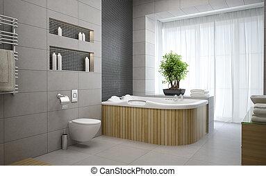 Interior of the modern design  bedroom 3D rendering 4