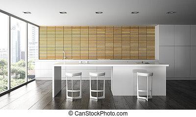 Interior of the modern design  kitchen 3D rendering 2