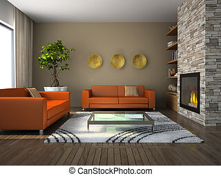 Interior of the modern living-room 3D rendering