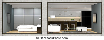 Interior of the modern  loft  view from outside 3D rendering