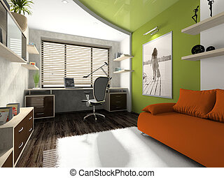 Interior of the modern private office. Photo on wall was...