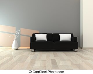 3d render interior of the modern room, grey wall and black sofa