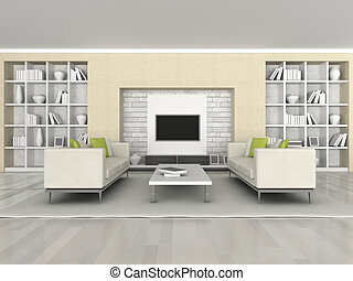 Interior of the modern room - 3d rendering, interior of the ...