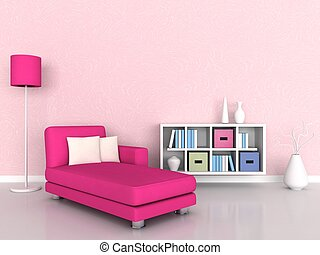 3d rendering, interior of the modern room, pink wall and pink sofa
