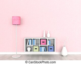 3d rendering, interior of the modern room, pink wall
