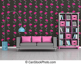 interior of the modern room, black floral wall, grey sofa