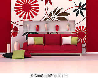 Interior of the modern room, floral wall and red sofa