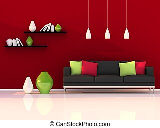 Interior of the modern room, red wall and black sofa