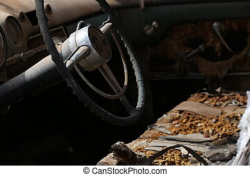 Interior of the old abandoned car