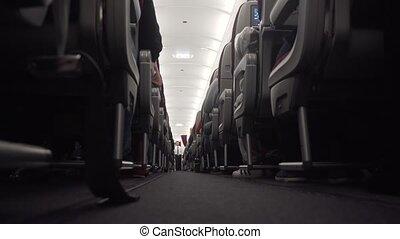 Interior of the passenger airplane. - Flight from Qatar to...