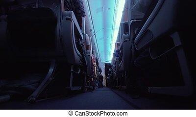 Interior of the passenger airplane. - Interior passengers...