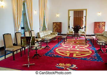 Interior of the Reunification Palace in Ho hi Minh City