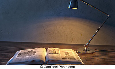 interior of the room in the twilight. book with a lamp. 3d illustration