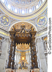Interior of the Saint Peter Cathedral in Vatican
