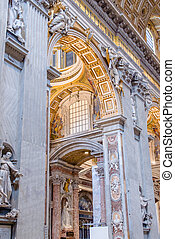 Interior of the Saint Peter Cathedral in Vatican at . Saint Peter's Basilica has the largest interior of any Christian church in the world.