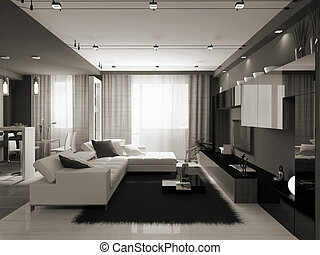 Interior of the stylish apartment