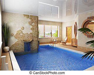 interior of the swimming pool - 3d rendering of the swimming...