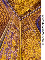 Interior of Tilya-Kori Madrasah on Registan Square in Samarkand, Uzbekistan