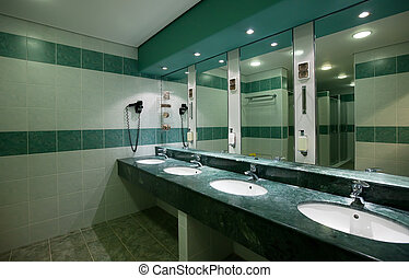 Interior of toilet with few sinks