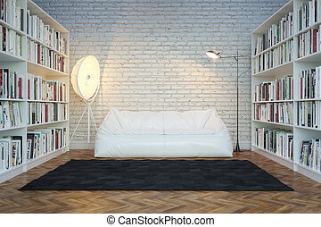 Interior of town house with books