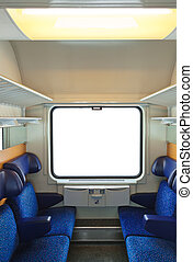 Interior of train and blank window - travel background