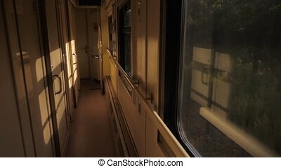 Interior of train railroad car sunlight compartment with...