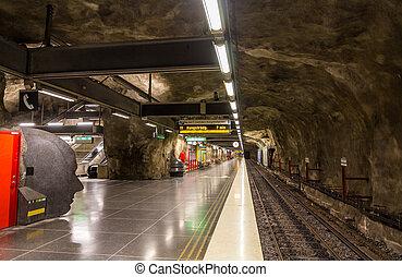 Interior of Vastra skogen metro station of Stockholm, Sweden