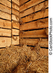 Interior of village building. Lot of hay in barn of rough planks with oakum.