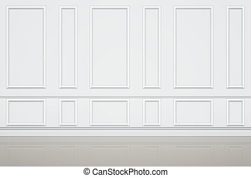 Interior of Wall of luxury apartments. Decorative panels on the wall. Modern room concept in white style. Vector Illustration.