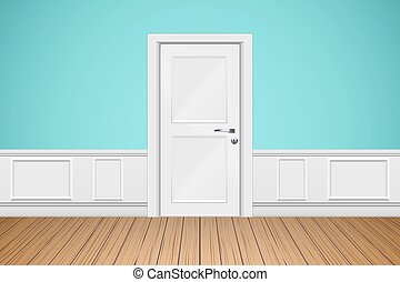 Interior of Wall of luxury apartments. Wall with closed white door. Modern room concept. Vector Illustration.