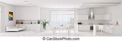 Interior of white apartment panorama - Interior of white ...