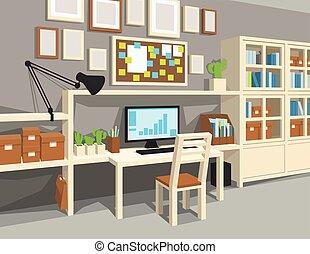 Interior of workroom in cartoon style. Perspective. ...
