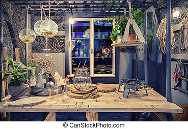 workshop space in autumn garden house
