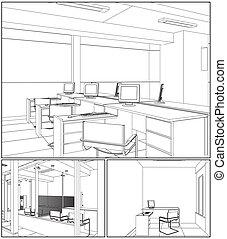 Interior Office Rooms Vector