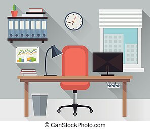 Interior office workplace vector - Modern interior office...