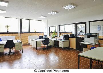 interior, oficina, computadoras