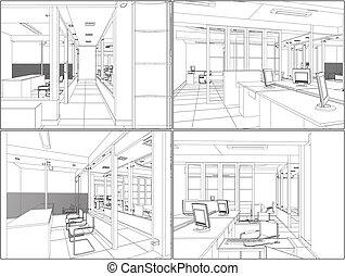 interior, oficina, cuartos