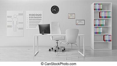 interior, oftalmólogo, vector, oficina, realista