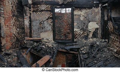 interior old burnt of burned-down fire wooden house after -...