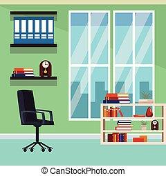 interior, paisagem, escritório