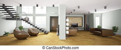 interior, panorama, apartamento, 3d